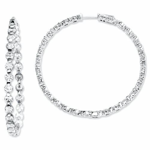 Sterling Silver Cz 54 Stones In And Out Round Hoop Earrings Qe7582