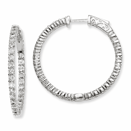 Sterling Silver Cz 60 Stones In And Out Round Hoop Earrings Qe7581