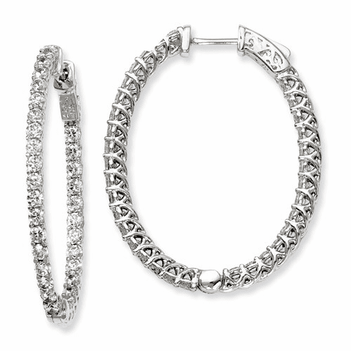 Sterling Silver Cz 66 Stones In And Out Oval Hoop Earrings Qe7579