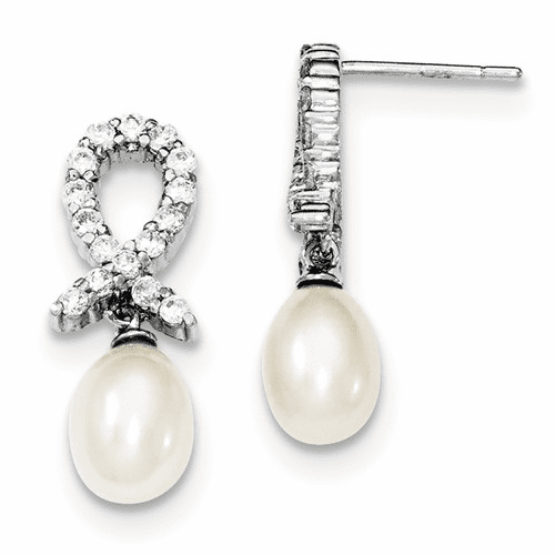 Sterling Silver Cz And Fw Cultured Pearl Earrings Qe2974