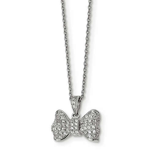 Sterling Silver & Cz Brilliant Embers Bow Necklace Qmp1144-18