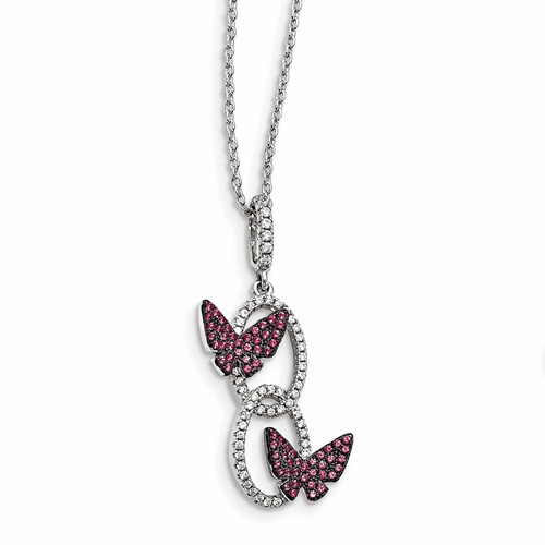Sterling Silver Cz Brilliant Embers Butterfly Necklace Qmp1450-18