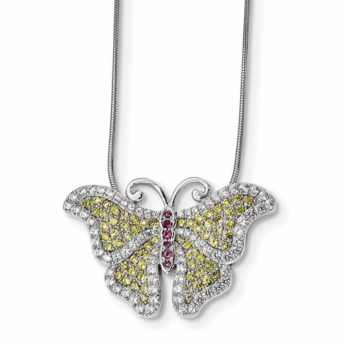 Sterling Silver & Cz Brilliant Embers Butterfly Necklace Qmp364-18
