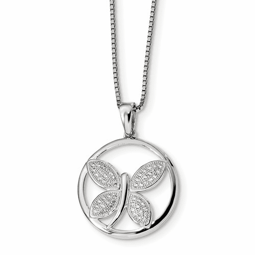 Sterling Silver & Cz Brilliant Embers Butterfly Necklace Qmp365-18