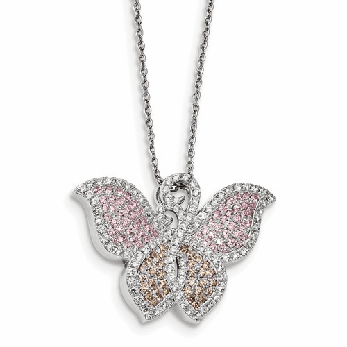Sterling Silver & Cz Brilliant Embers Butterfly Necklace Qmp367-18