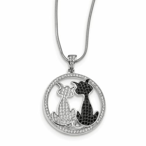 Sterling Silver & Cz Brilliant Embers Cats Necklace Qmp1152-18