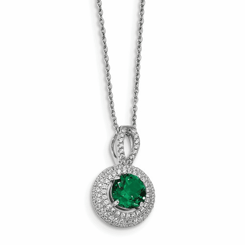 Sterling Silver & Cz Brilliant Embers Circle Necklace Qmp1329-18
