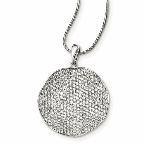 Sterling Silver Cz Brilliant Embers Concave Circle Necklace Qmp1387-18
