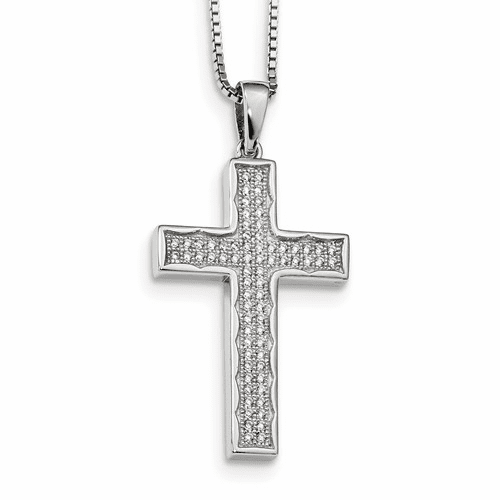 Sterling Silver & Cz Brilliant Embers Cross Necklace Qmp421-18
