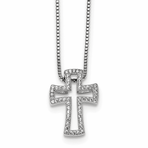 Sterling Silver & Cz Brilliant Embers Cross Necklace Qmp558-18
