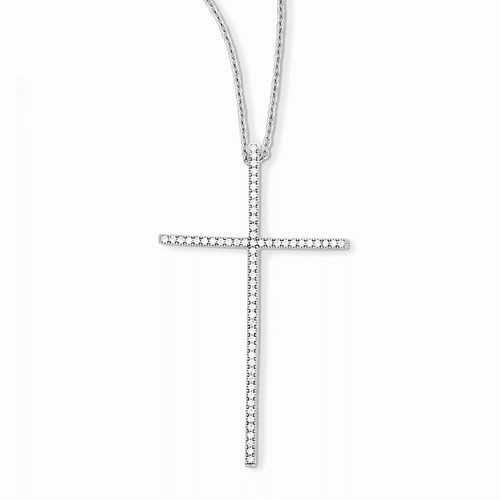 Sterling Silver & Cz Brilliant Embers Cross Necklace Qmp881-18