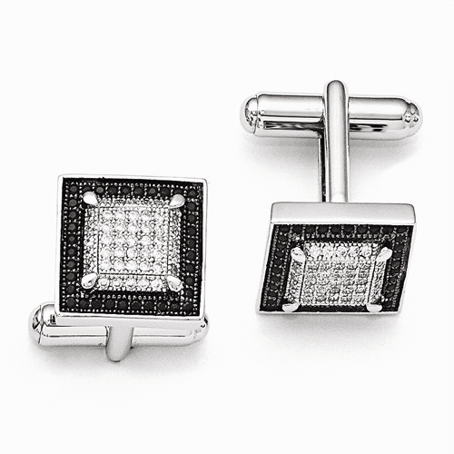 Sterling Silver & Cz Brilliant Embers Cuff Links Qmp574