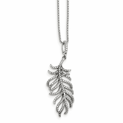 Sterling Silver Cz Brilliant Embers Feather Necklace Qmp1440-18