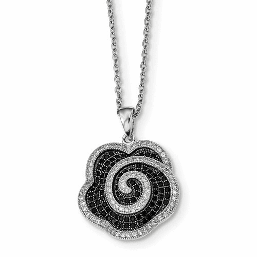 Sterling Silver & Cz Brilliant Embers Flower Necklace Qmp1178-18