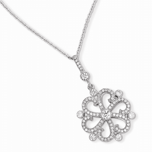 Sterling Silver & Cz Brilliant Embers Flower Necklace Qmp891-18