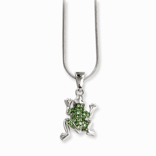 Sterling Silver & Cz Brilliant Embers Frog Necklace Qmp830-18