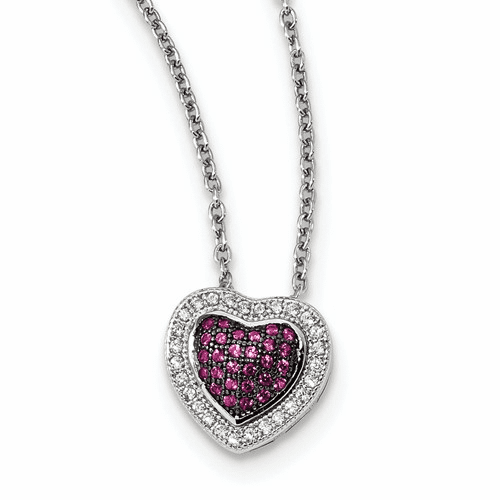 Sterling Silver & Cz Brilliant Embers Heart Necklace Qmp1104-18