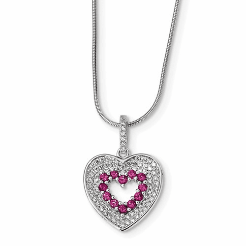 Sterling Silver & Cz Brilliant Embers Heart Necklace Qmp1118-18