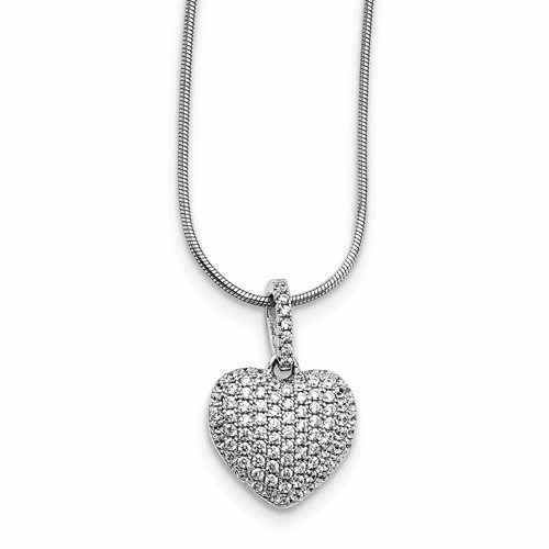 Sterling Silver & Cz Brilliant Embers Heart Necklace Qmp1435-18