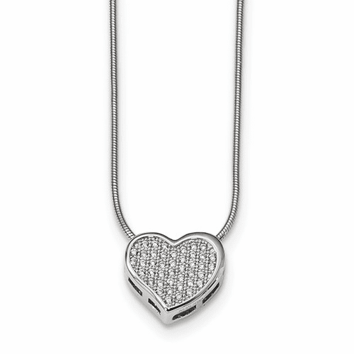 Sterling Silver & Cz Brilliant Embers Heart Necklace Qmp334-18