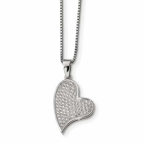 Sterling Silver & Cz Brilliant Embers Heart Necklace Qmp340-18