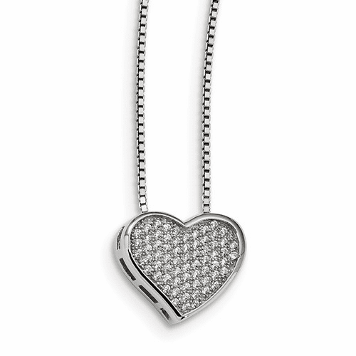 Sterling Silver & Cz Brilliant Embers Heart Necklace Qmp535-18