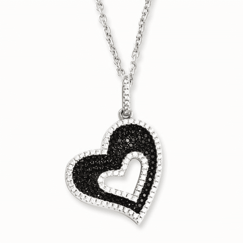 Sterling Silver & Cz Brilliant Embers Heart Necklace Qmp793-18