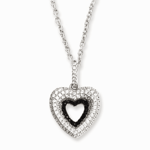 Sterling Silver & Cz Brilliant Embers Heart Necklace Qmp800-18