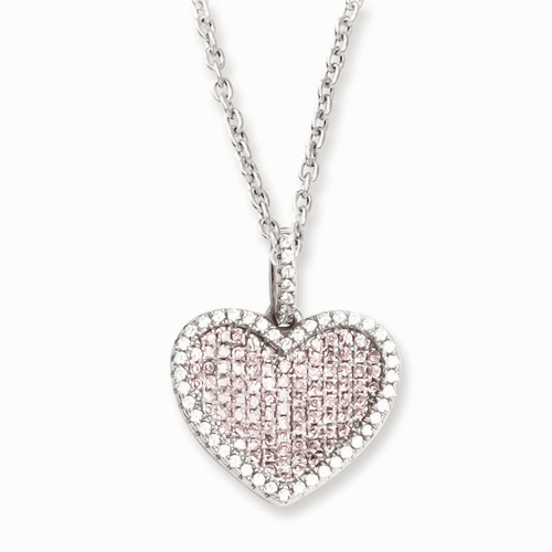 Sterling Silver & Cz Brilliant Embers Heart Necklace Qmp809-18