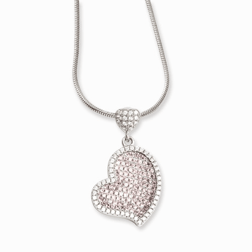 Sterling Silver & Cz Brilliant Embers Heart Necklace Qmp811-18