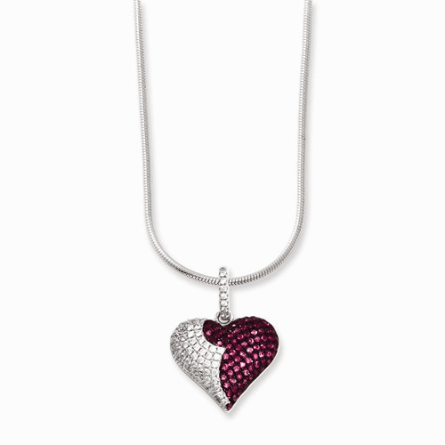Sterling Silver & Cz Brilliant Embers Heart Necklace Qmp817-18