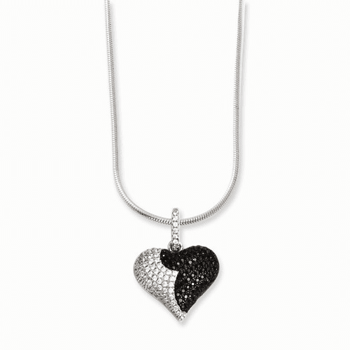 Sterling Silver & Cz Brilliant Embers Heart Necklace Qmp818-18