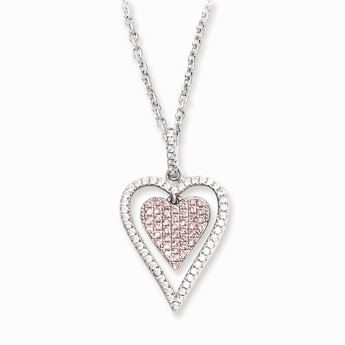 Sterling Silver & Cz Brilliant Embers Heart Necklace Qmp825-18