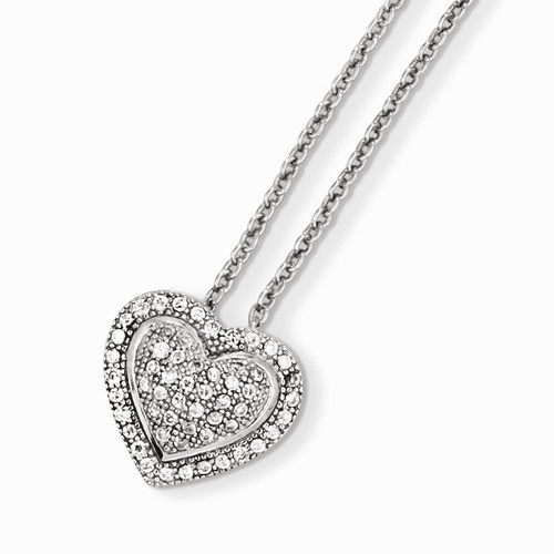 Sterling Silver & Cz Brilliant Embers Heart Necklace Qmp874-18