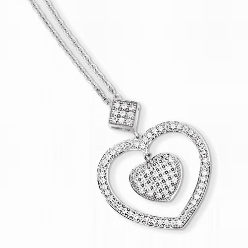 Sterling Silver & Cz Brilliant Embers Heart Necklace Qmp882-18