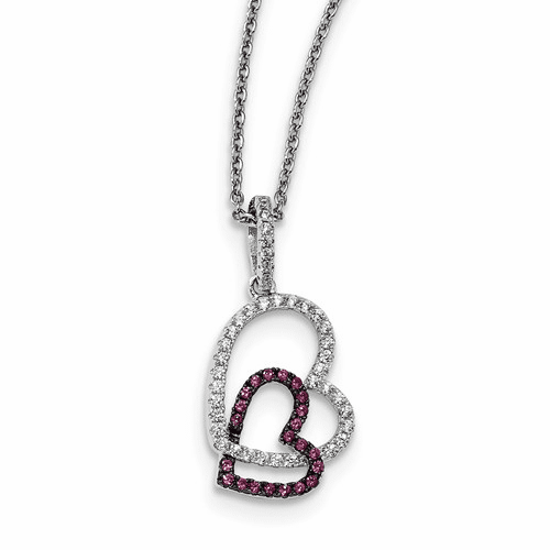 Sterling Silver & Cz Brilliant Embers Hearts Necklace Qmp1096-18