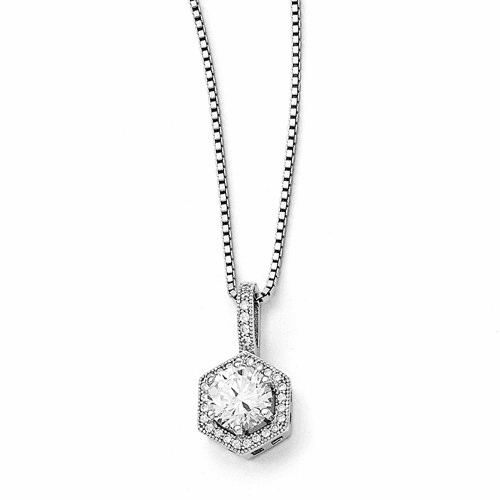 Sterling Silver & Cz Brilliant Embers Hexagon Necklace Qmp394-18
