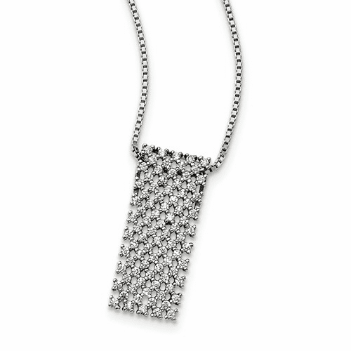 Sterling Silver & Cz Brilliant Embers Necklace Qmp1414-18