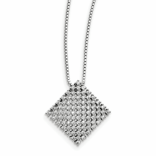 Sterling Silver & Cz Brilliant Embers Necklace Qmp1426-18