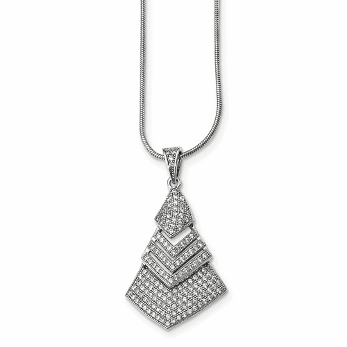 Sterling Silver Cz Brilliant Embers Necklace Qmp1445-18