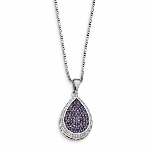 Sterling Silver & Cz Brilliant Embers Necklace Qmp356-18
