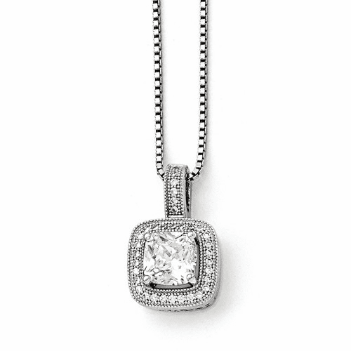 Sterling Silver & Cz Brilliant Embers Necklace Qmp396-18