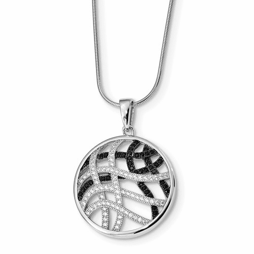 Sterling Silver & Cz Brilliant Embers Necklace Qmp438-18