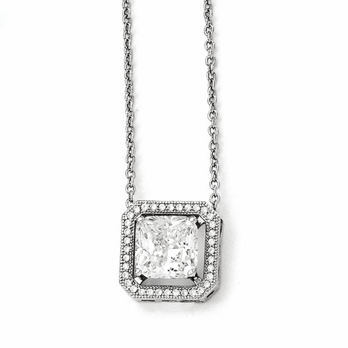 Sterling Silver & Cz Brilliant Embers Necklace Qmp542-18
