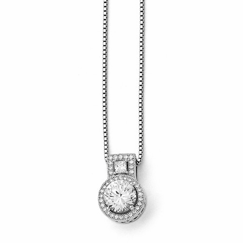Sterling Silver & Cz Brilliant Embers Necklace Qmp582-18