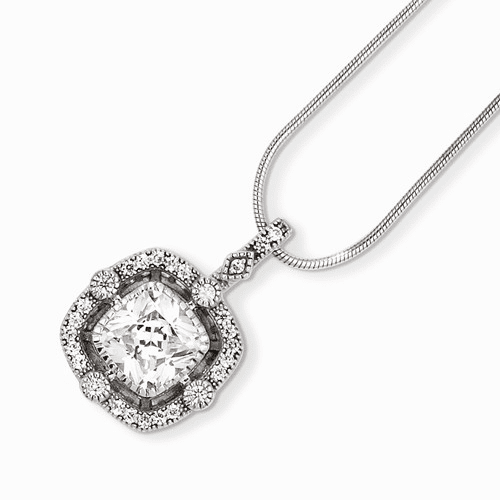 Sterling Silver & Cz Brilliant Embers Necklace Qmp889-18