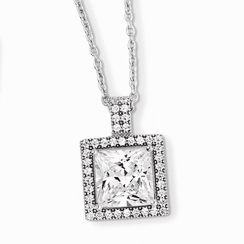 Sterling Silver & Cz Brilliant Embers Necklace Qmp899-18