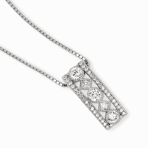 Sterling Silver & Cz Brilliant Embers Necklace Qmp900-18