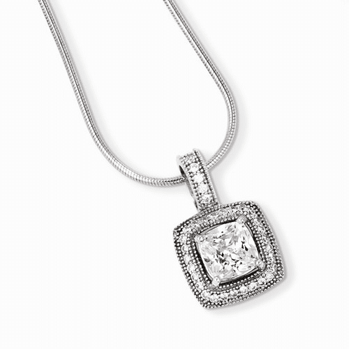 Sterling Silver & Cz Brilliant Embers Necklace Qmp902-18