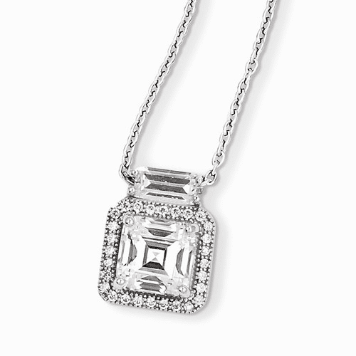 Sterling Silver & Cz Brilliant Embers Necklace Qmp910-18